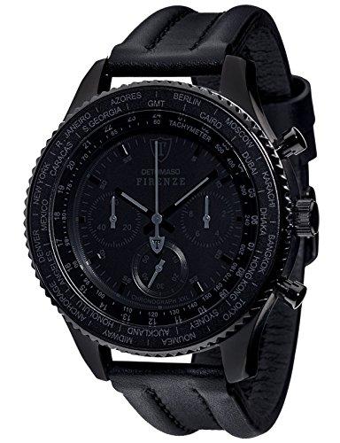 DETOMASO FIRENZE XXL Herren-Armbanduhr Chronograph Analog Quarz schwarzes Lederarmband schwarzes Zifferblatt DT1045-D