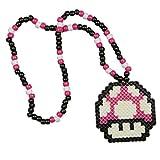 """Collier Kandi """"Mario Champignon Rose"""", collier pour rave parties, collier de perles, costumes et déguisement pour Halloween et festivals de musique"""