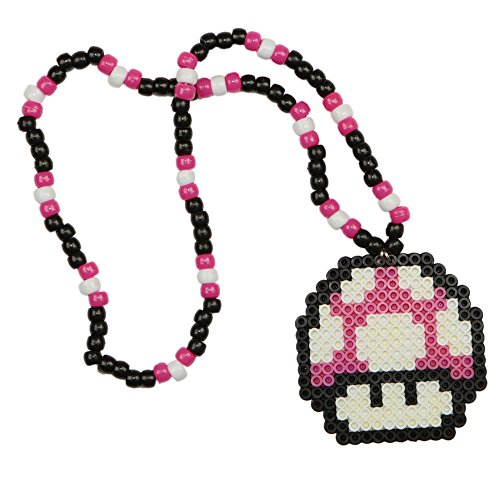 Mario Mushroom Pink Kandi Necklace, rave necklace, beaded necklace, bead necklace halloween costume for music festival outfits