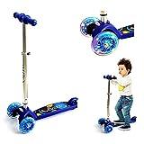 3 Räder Scooter für Kinder ab 2 Jahren, Kickboard-Scooter, Kleinkind Roller Kinderroller Scooter mit höhenverstellbarer Lenkstange und blinkenden LED Flüsterräder