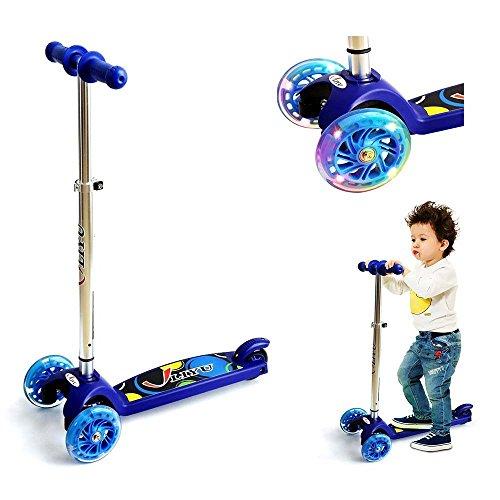 3 Räder Scooter für Kinder ab 2 Jahren, Kickboard-Scooter, Kleinkind Roller Kinderroller Scooter mit höhenverstellbarer Lenkstange und blinkenden LED Flüsterräder (Kleinkind-jungen-scooter)