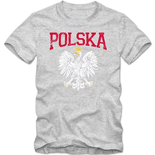 Polen Wappen Premium-Herrenshirt | Polen | Republik Polen | Warschau | Herrenshirt © Shirt Happenz Graumeliert (Grey Melange L190)