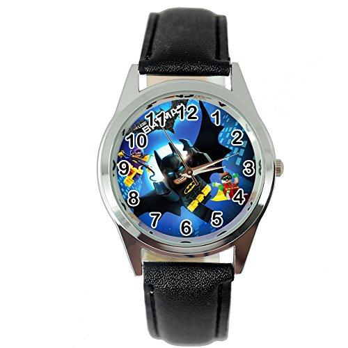 Taport® Batman Lego Cuarzo Redondo Reloj Correa de Piel Negro + Batería de Repuesto Libre + Libre...