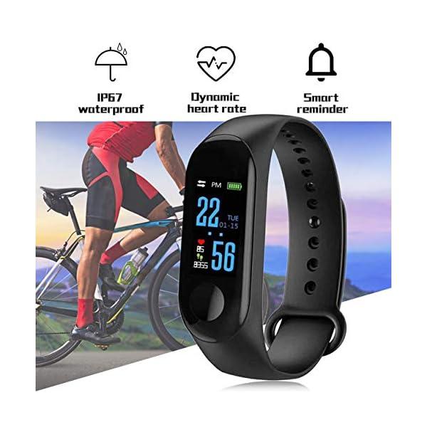 BIYI M3 Unisex Health Tracker Smart Band Reloj Pulsera Pulsera Fitness Tracker Monitor Pulsera (Negro) () 9