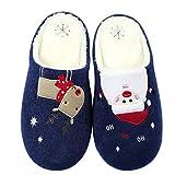 Justdolife Herren Baumwoll-Hausschuhe Anti Rutsch Rentier Schneemann Gedruckt Warme Winter Sandalen für Weihnachten