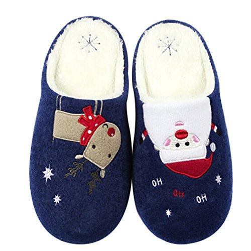 Justdolife pantofole da uomo in cotone antiscivolo renna pupazzo di neve stampato caldo inverno sandali per natale