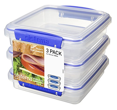 sistema-klip-it-sandwich-box-450-ml-clear-with-blue-clip-pack-of-3