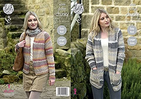 King Cole Ladies Chunky Knitting Pattern - Easy Knit Long or Short Length Cardigans (4599) by King Cole