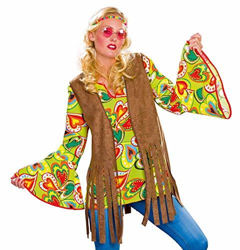 Festartikel Müller Hippie-Weste für Damen, braun Größe - Weste Kostüm Hippie