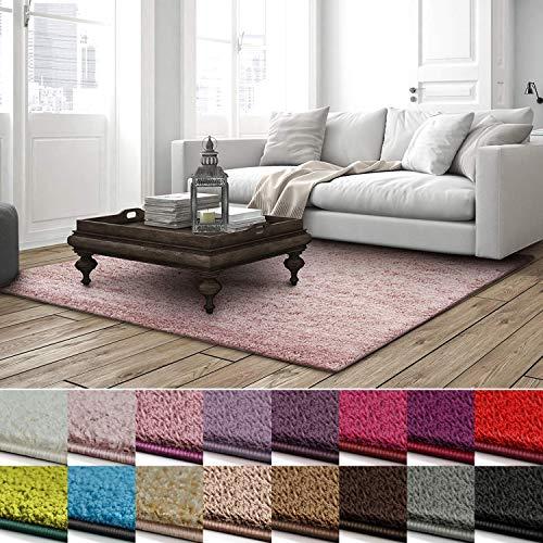 casa pura Shaggy Teppich Barcelona   weicher Hochflor Teppich für Wohnzimmer, Schlafzimmer, Kinderzimmer   GUT-Siegel + Blauer Engel   Verschiedene Farben & Größen   160x230 cm   Rose