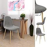 4x Deuba® Design Stuhl Esszimmerstühle Küchenstuhl • 50cm Sitzhöhe • ergonomisch geformte Sitzschale • 120kg Belastbarkeit • Stuhlbeine mit Naturholzoptik • dunkelgrau - 8