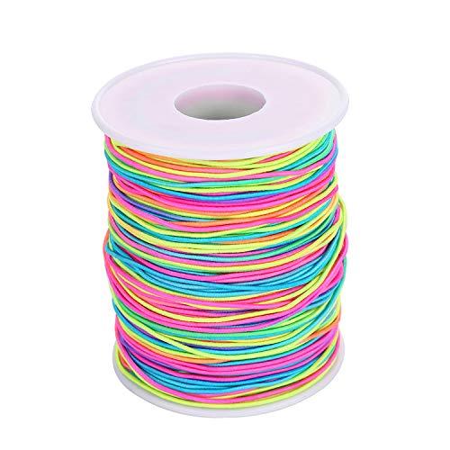 VABNEER Nylonschnur 1mm Gemischten Farbigem Armband Faden Elastische Schnur Handwerk Schmuck Armband Herstellung Schnüre Stretch Beading Thread (100m/Rollen)