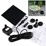 Solar Fountain Pump, GOCHANGE 1.2W 180L/H Solar Pond Pump, Solar Panel Water Feature Pump, for Garden, Pool, Pond, Aquarium, Fountain, with 4 Nozzles
