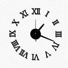 Topker DIY Acrílico reloj de pared de espejo 3D números romanos diseño y Decoración para el hogar pegatinas de pared Relojes