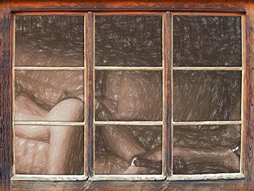 Stil.Zeit Femme Magnifique avec Les Fesses Sexy Effet de Crayon d'art Fenêtre en 3D Look, Mur ou Format Vignette de la Porte: 92x62cm, Stickers muraux, Sticker Mural, décoration Murale