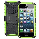 Pegoo Coque iPhone 5, Housse Antichoc Armure Protection Housse Coque Etui avec Support Cover Case pour Apple iPhone 5 5S Se (Vert)