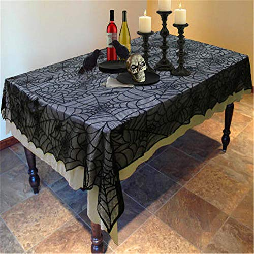 SONGHJ Halloween Dekoration Spitze Spinnennetz Polyester Tischdecke Schwarz Kamin Kaminsims Schal Event Party Supplies Tischdecke B 152x213cm Cross-stitch-hut