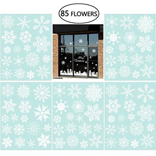 fensterbilder schneeflocken 85 Fensterdeko Schneeflocken NICEXMAS Fensterbilder Schneeflocken(weiss) - Statisch Haftende PVC Aufkleber