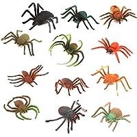 TOYANDONA Juguetes de Araña de Plástico Realistas 12 Piezas Espeluznantes Accesorios de Broma de Halloween Decoración de Halloween Favores de Fiesta