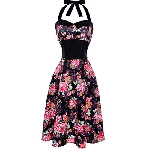 Damen Vintage Kleid Yesmile Hepburn 50 er Retro Damen Elegant Kleider Cocktail Vintage Rockabilly Kleid Folding Skirt Kleid Floral Print Spitzenkleid (XL, Schwarz)