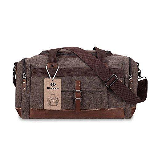 Canvas Reisetasche Handgepäck Weekender Tasche Vintage Segeltuch Sporttasche für Reise (Kaffee) Kaffee-L