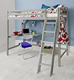 Cabin Bed High Sleeper with Desk in Silk Grey, Bunk Bed Thomas Noa & Nani