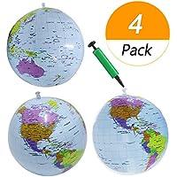 Meetory - Juego de 4 globos hinchables de tierra de 30,48 cm, 3 unidades de bolas de playa de globo mundial con 1 paquete de mini bomba para la educación, la enseñanza y el juego (azul claro)