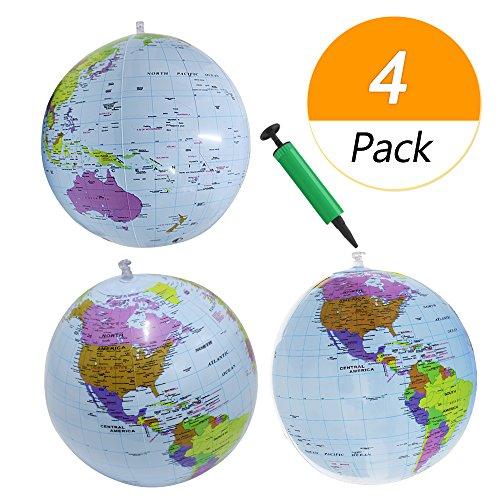 Meetory 4er Set Luftballons 30 cm, 3 Stück Weltkugeln mit 1 Packung Mini-Pumpe für Bildung, Unterricht und Spiel (Hellblau)