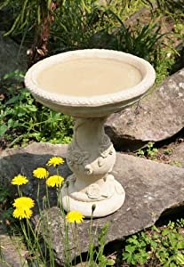 Yorkshire Rose Patterned Stone Bird Bath Water Feature