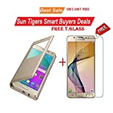 #9: Sun Tigers Combo of Flip Case Cover and Tempered Glass for Samsung Galaxy On7 (Gold)