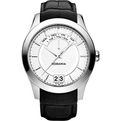 Rodania 25070-20 - Reloj para hombres, correa de cuero color negro