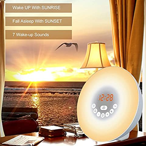 Wake-up Light, Alarmlampe mit Funktion Snooze Wecker und FM Radio Awakening LED-Licht Simulator Morgen- und Abendd?mmerung Wake-up Light (Verbesserte Version)