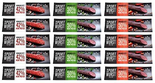 Grillido Sportwurst 15er Mixpack | der Trockenfleisch Protein Riegel | Die Eiweißriegel und Beef...