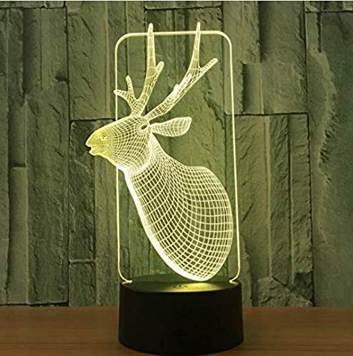 Weizhangchandelier Attic Chandeliers 3D-Lampe, USB-LED-Lampe, Hirsch-Dekoration, Romantisches Zuhause, Geschenk, 7 Farben, Farbverlauf wechselnde Fee, Schreibtisch Tischlichter