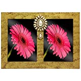 Wooden Gold Textured Dual Photo Frame wi...