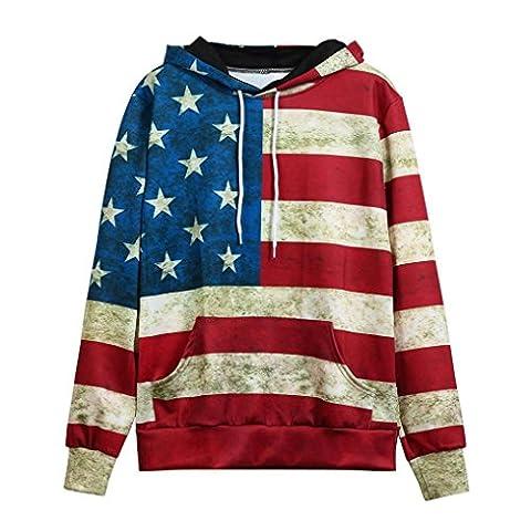 Women Slim Pullover with Pockets ,Yannerr Unisex Fashion American Flag Print Pullover Hoodie Sweatshirt