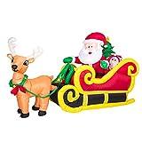 Aufblasbarer Weihnachtsmann mit Schlitten & Rentier große Weihnachtsdeko selbstaufblasend Christmas Airblown