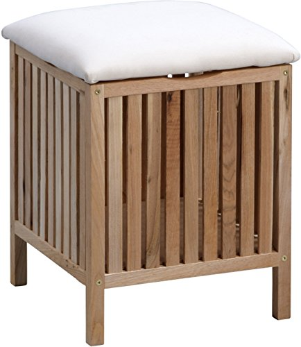 HomeTrends4You 430127 Wäschehocker , 39 x 52 x 39 cm, Walnuss massiv geölt