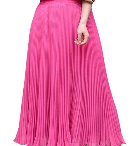 Cheerlife Elegant Damen Einfarbig Faltenrock Plisseerock mit Rüschen A-Linie Falten Rock Knielang in vielen Farben Pink