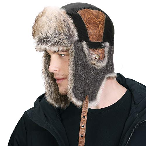 SIGGI - Gorro de pelo para hombre, algodón, cálido, Ushanka, estilo ruso, sombrero de caza
