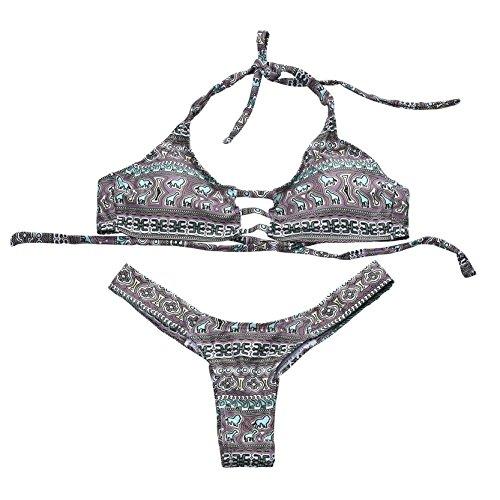 Frauen Ethnische Geometrie Bedruckt Zwei Stück Bikini Set Boho Badeanzug S