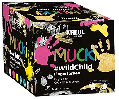 Kreul 2300 - Mucki leuchtkräftige Fingerfarben auf Wasserbasis, Premium Set Wild Child, für Kinder ab zwei Jahren, 8 x 150 ml Farbe in Gelb, Pink, Blau, Grün, Weiß, Schwarz, Silber und Gold
