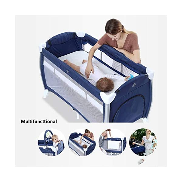 Travel Crib Cots Baby Nest Pod Bassinet Multifunctional Crib Travel Cots for Baby Sleeptight Game Bed Portable Folding with Mattress Mosquito Net 3 Colors (Color : A) OZYN Travel cots 【2-IN-1 BABY TRAVEL COT】There are two layers on this baby travel bed, the top layer is suitable for feeding and resting, and the bottom layer is ideal for crawling or learning to walk. You can use our infant cot in various kinds of places according to your different needs. 【MATERIAL】High quality oxford material, soft and comfortable, free of paint formaldehyde, wear-resistant, dirt-resistant, durable, preferably coir mattress, care for your baby's body and healthy growth 【SAFE CONSTRUCTION FOR BABY】Breathable mesh bed, protect your baby from bruising and bruising, good for air circulation, round corner bed, white plastic material, durable and rust-free, protect your baby from harm 3