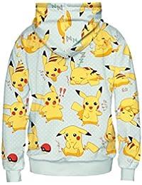 CTOOO-mujeres Pikachu Sudadera con estampado digital Sudadera para mujer Manga larga Capucha Suéter Pull-over Outwear