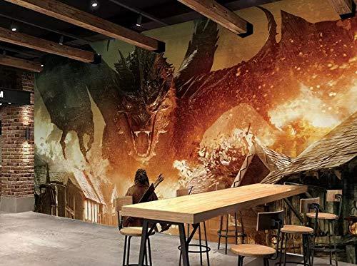 Shukun Papel pintado Fire Dragon Tooling Background Pintura de la pared Living Room Bedroom Decoration Wallpaper