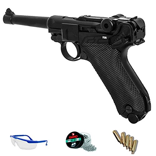 PACK réplica Luger 08 - Umarex Legends P08 full metal (pistola de aire comprimido CO2 y balines de acero)