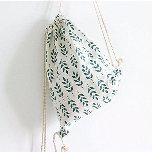 TianranRT , Damen Rucksackhandtasche Green Leaves