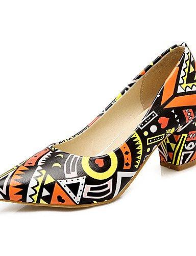 WSS 2016 Chaussures Femme-Mariage / Habillé / Soirée & Evénement-Bleu / Violet / Orange-Gros Talon-Talons / Bout Pointu-Talons-Similicuir blue-us8 / eu39 / uk6 / cn39