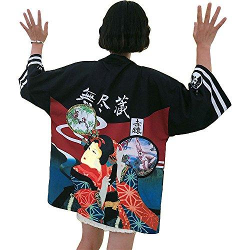 Kostüm Mädchen Japanischen Harajuku - Japanischer Kimono Kleid Strickjacke - Traditionelle Klassische Haori Kleidung Tokio Harajuku Antike Stile Lockere Jacke Robe Kostüm Bademantel Nachtwäsche Mädchen Frauen - Geisha (Schwarz)