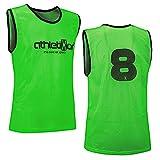 12 Fußballleibchen mit Rückennummern - Trainingsleibchen - Leibchen - Markierungshemden von athletikor (Grün, ab B Jugend - Erwachsene XL: 73X60CM)